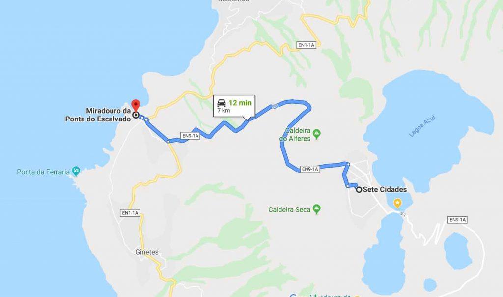 route to Miradouro da Ponta da Escalvado