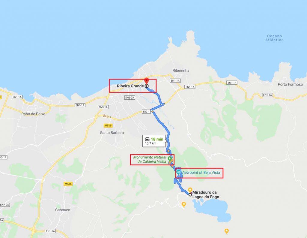 Route to Ribeira Grande