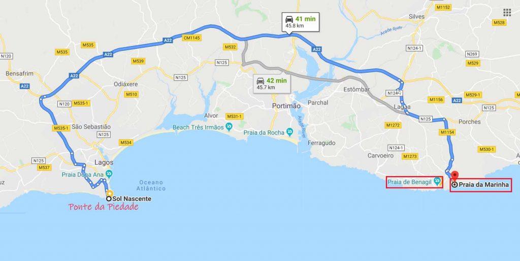 route to Praia da Marinha