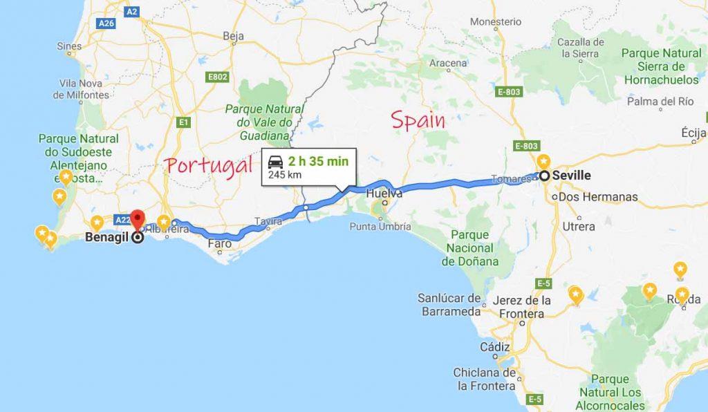 Benagil to Seville