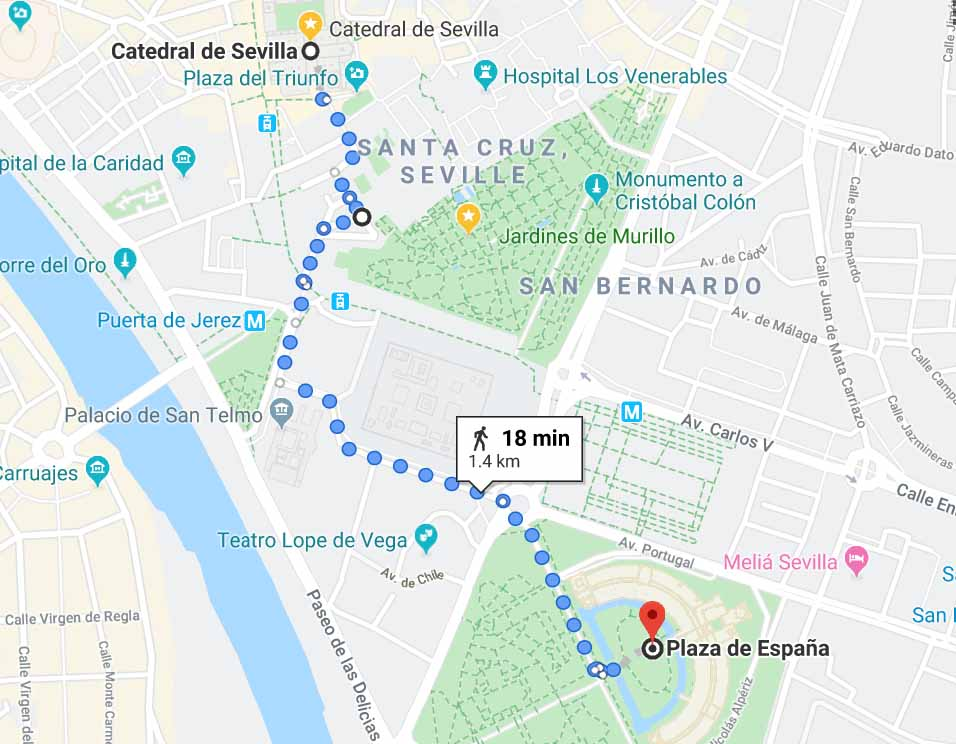 Walking route to Plaza de Espana