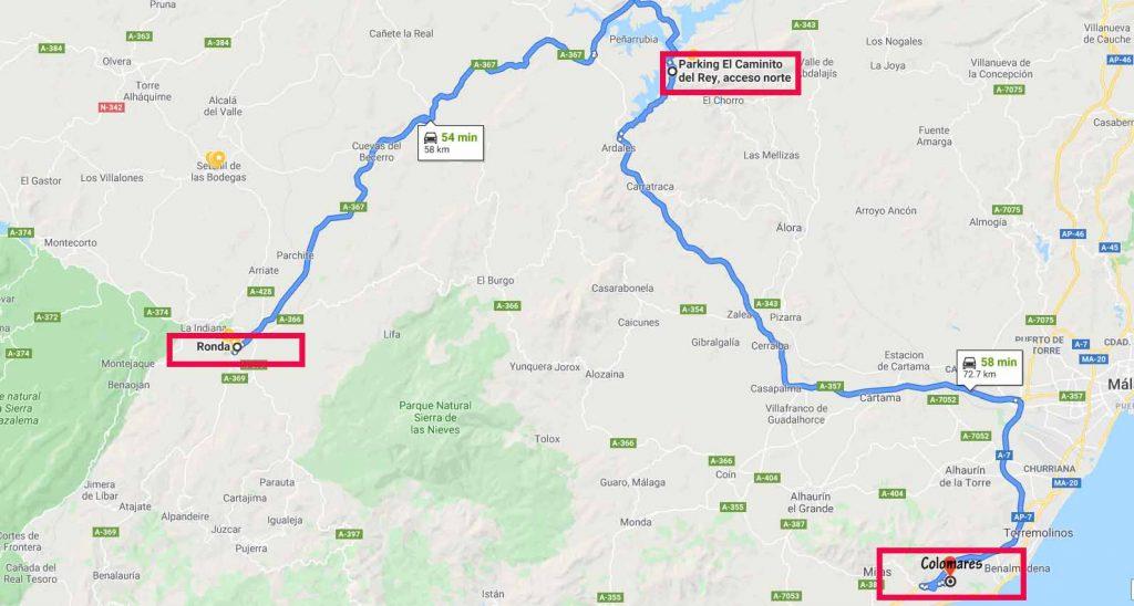 Route from Ronda to Caminito del Rey & Colomares