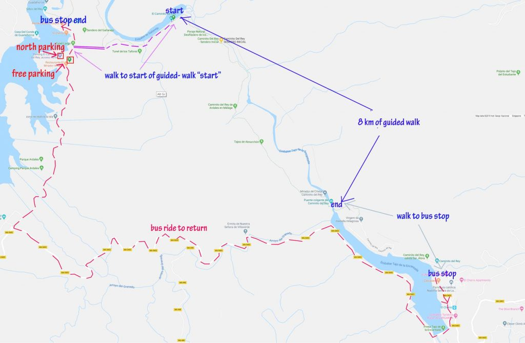Map around Caminito del Rey