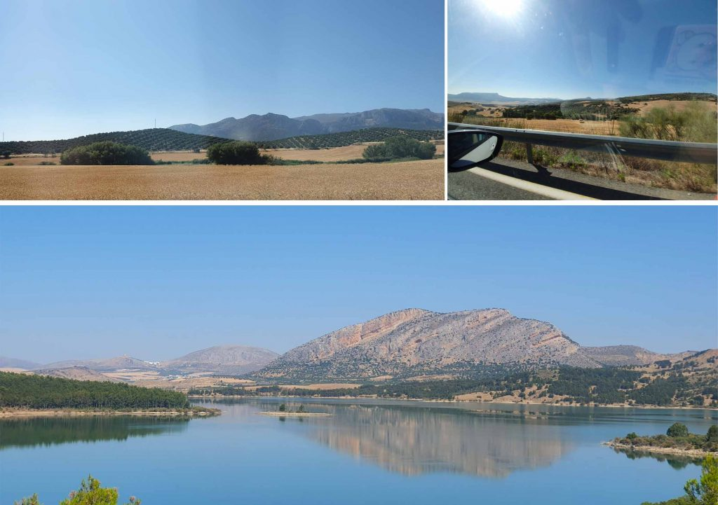 Scenery during the drive (top), Guadatelba Reservoir (bottom)