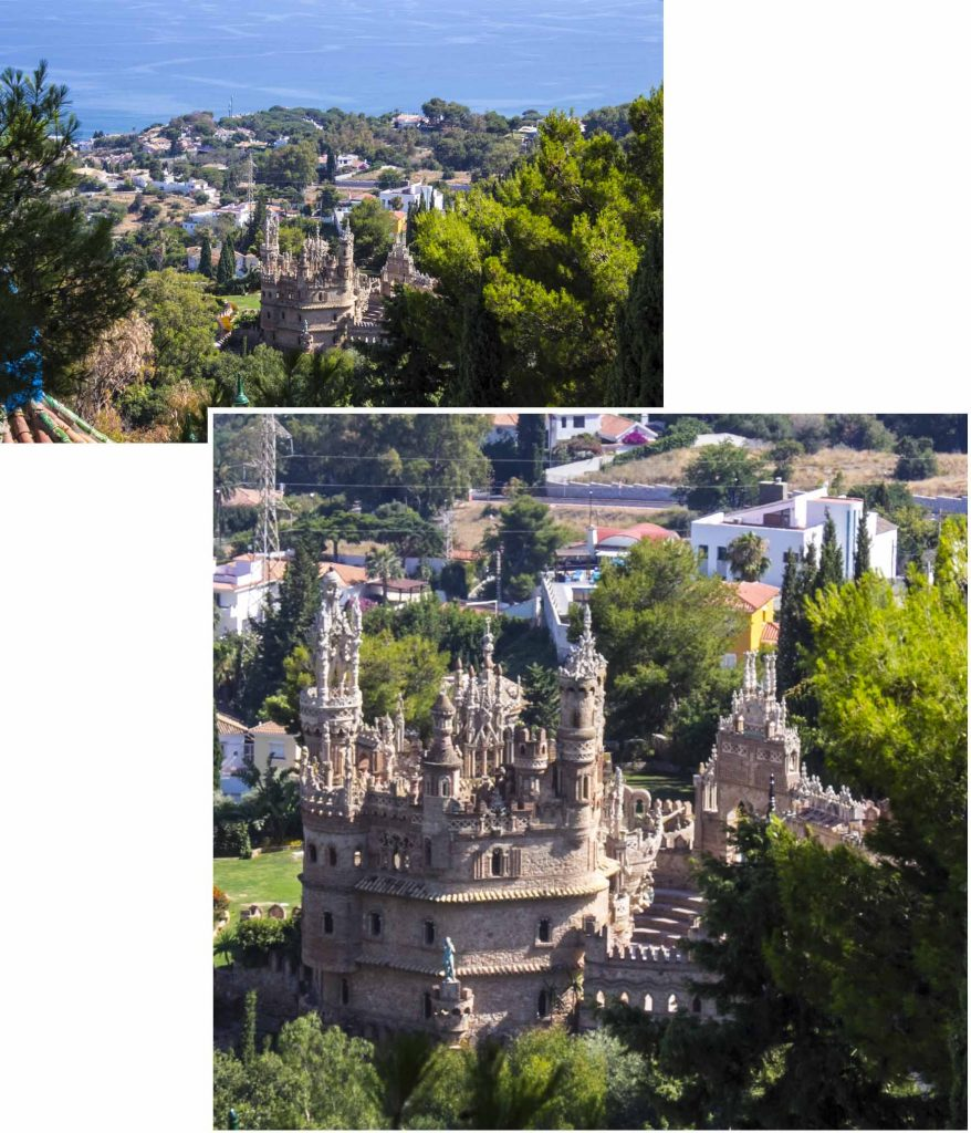 View of the coast and Colomares Castle from the garden