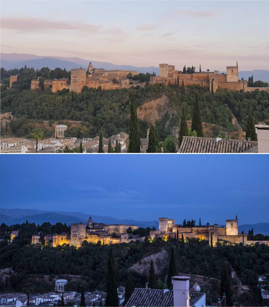 Changing colors of Alhambra of Granada