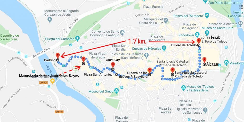 Our walk route in the Toledo ancient town