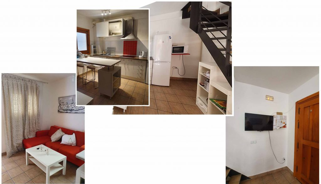 Living, dining and kitchen of our apartment