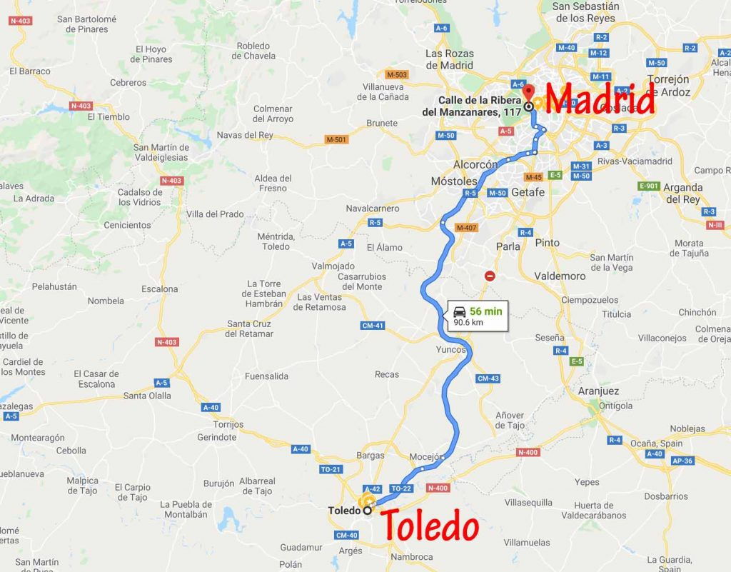 Route from Toledo to Madrid Centro