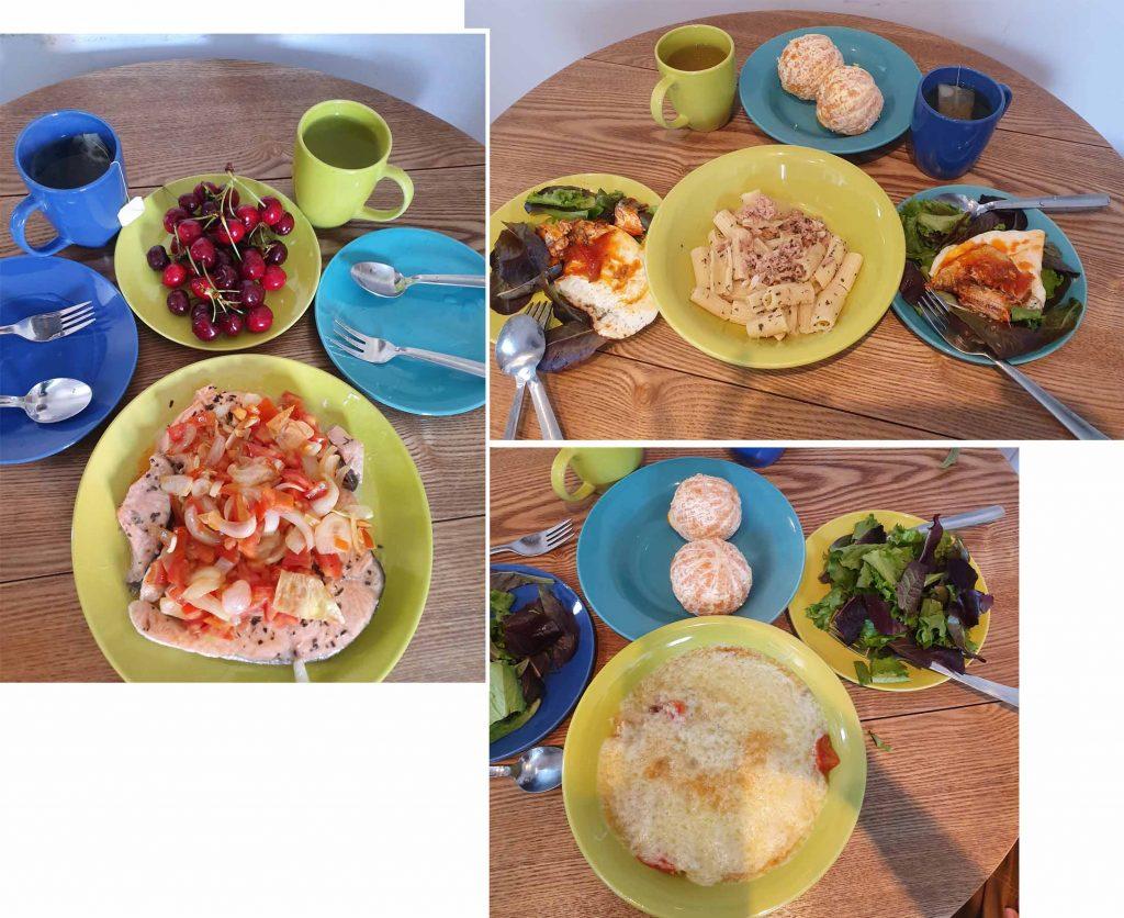 Salmon for dinner, pasta and eggs for breakfast