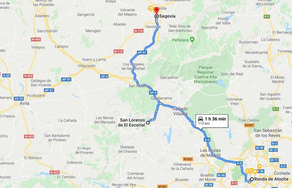 route from Madrid to El Escorial to Segovia