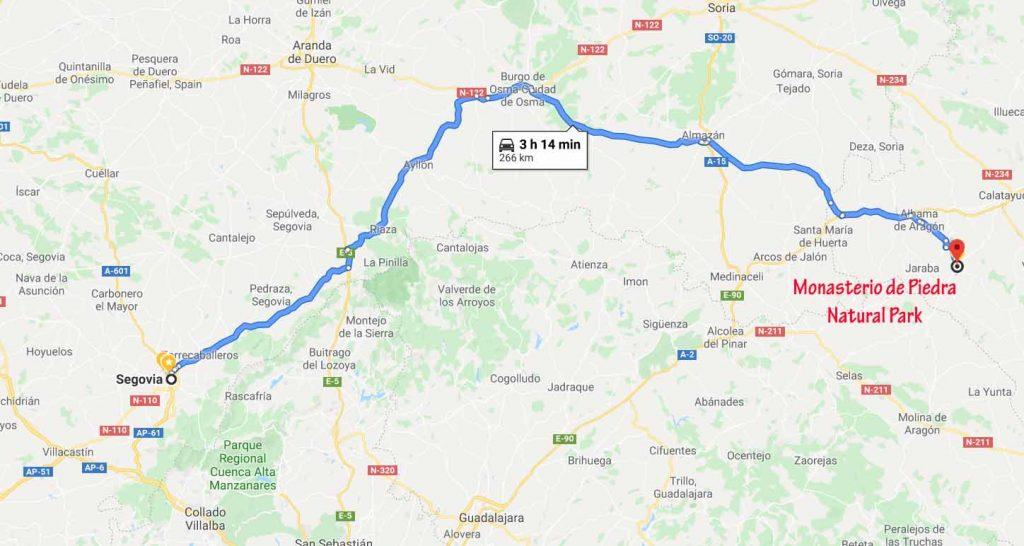 Route from Segovia to Monasterio de Piedra Natural Park