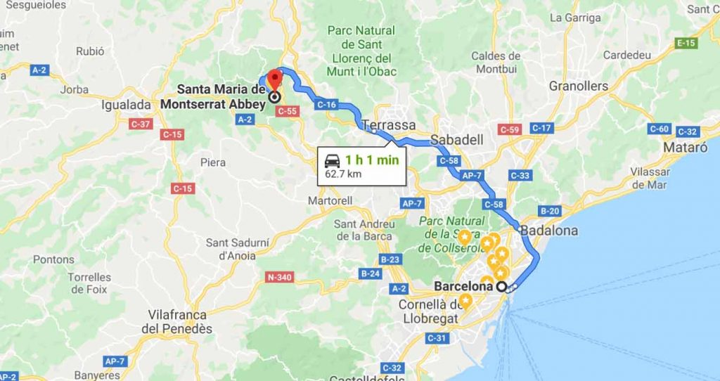 On hour drive from Barcelona to Montserrat