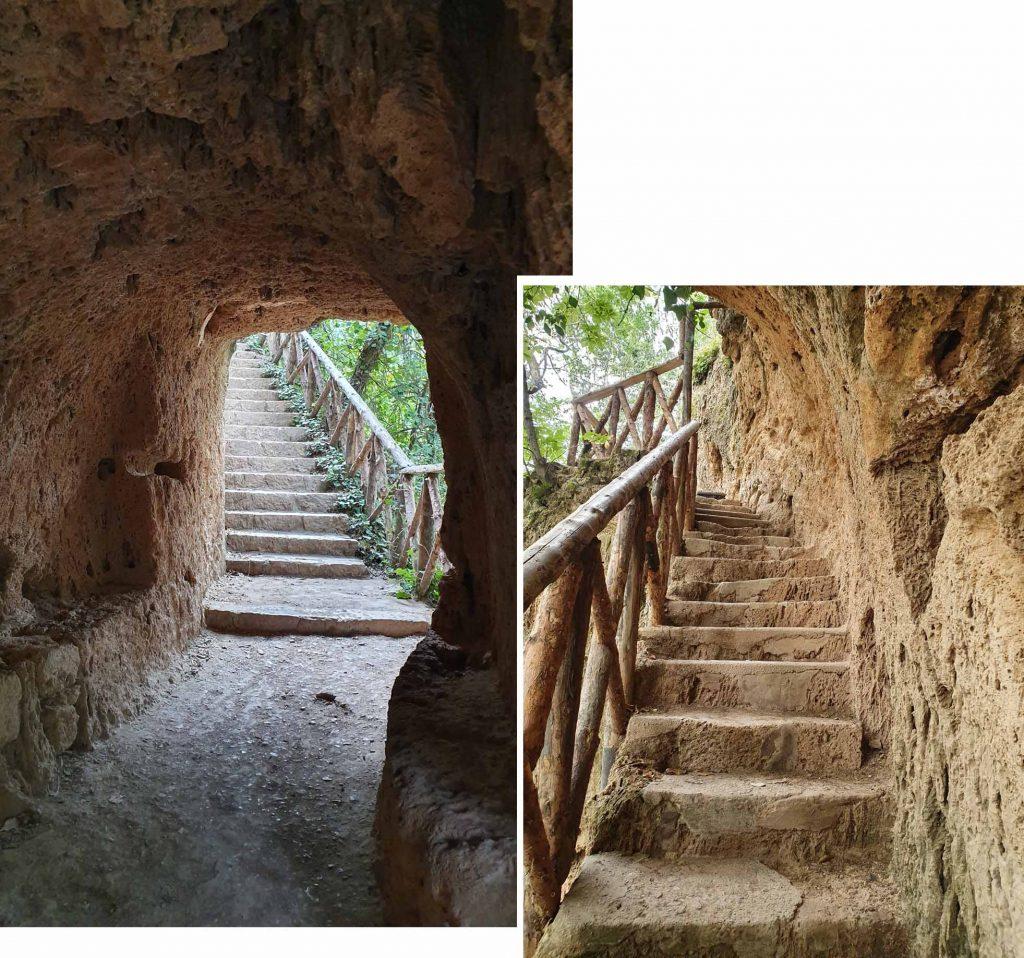 Up and down the grotto at Monasterio de Piedra