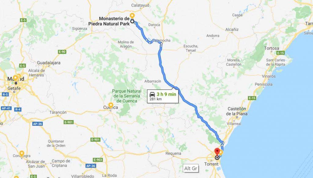 Route from Monasterio de Piedra to Valencia