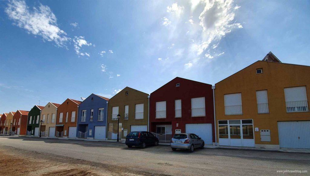 Rainbow color houses near Calamocha