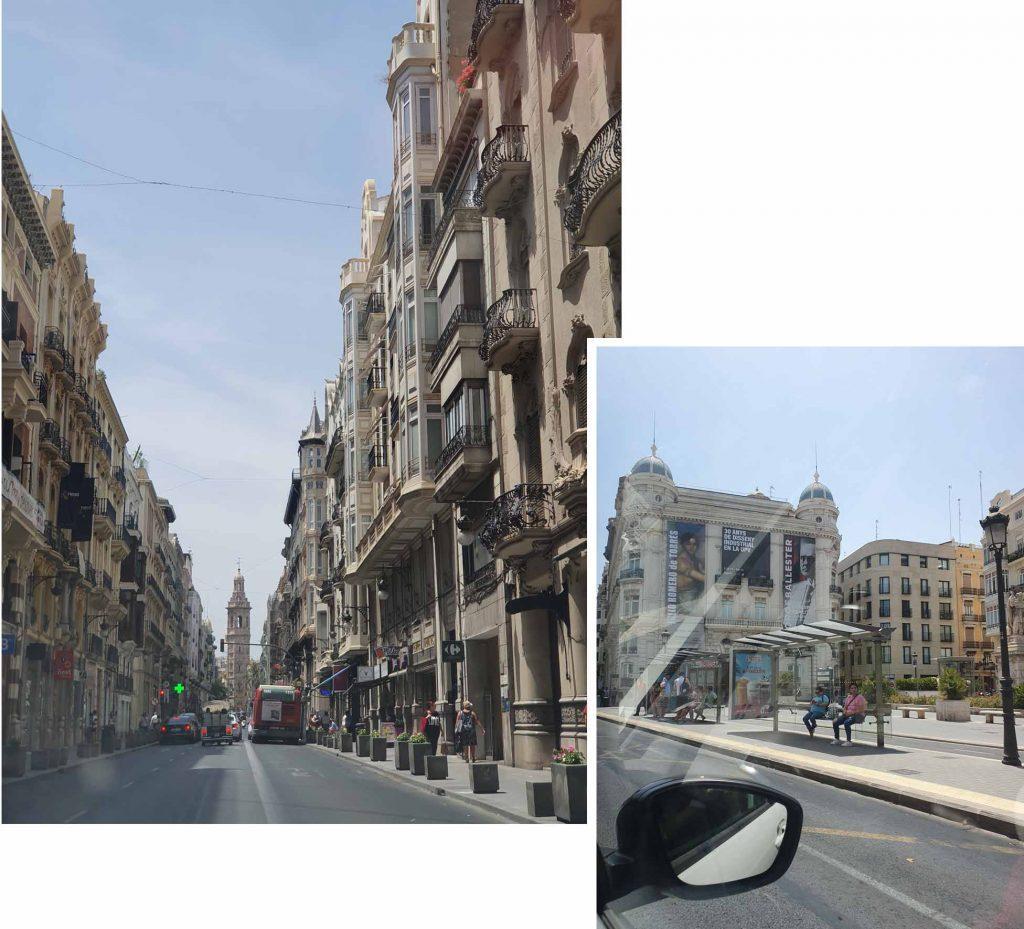 Driving through Valencia town central