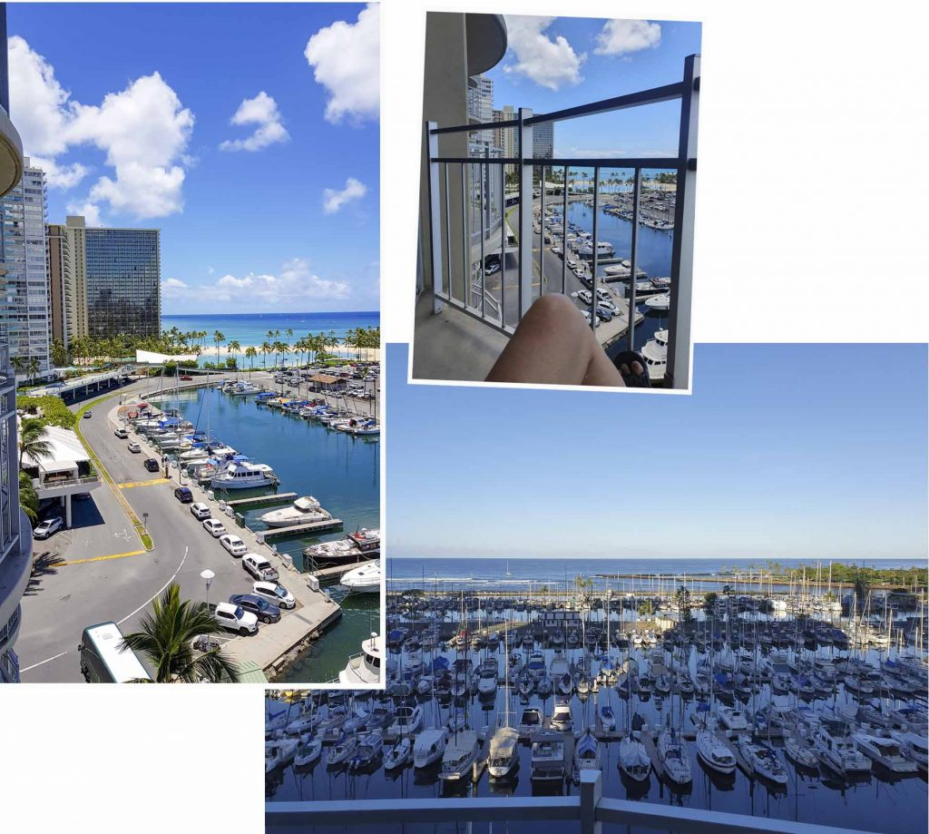 Balcony view of Studio Apartment at Ilikai Marina