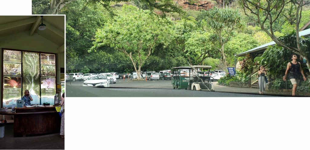 Waimea Valley car park and ticketing counter