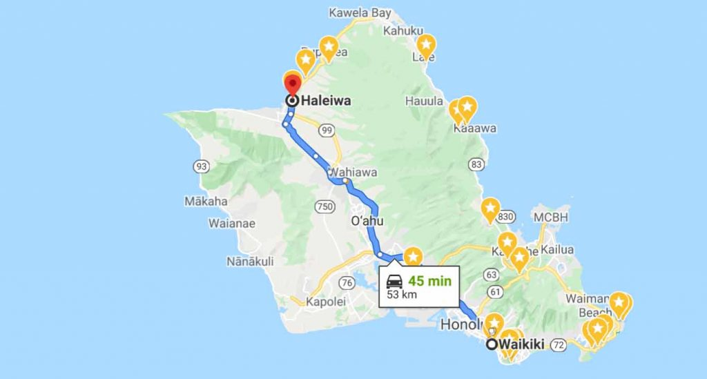 Route from Waikiki to Haleiwa Town