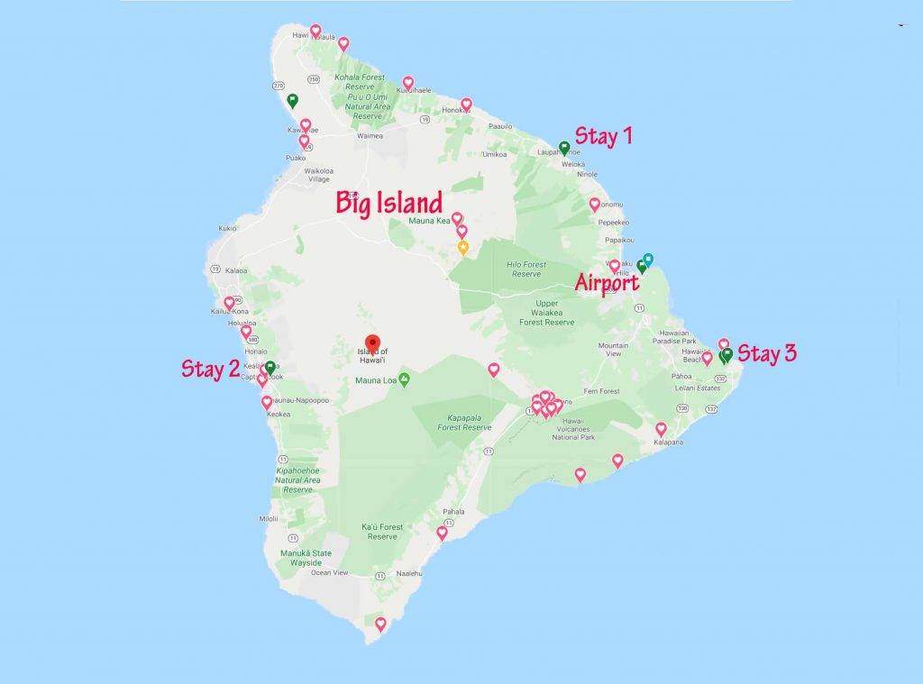 Big Island and our stay locations