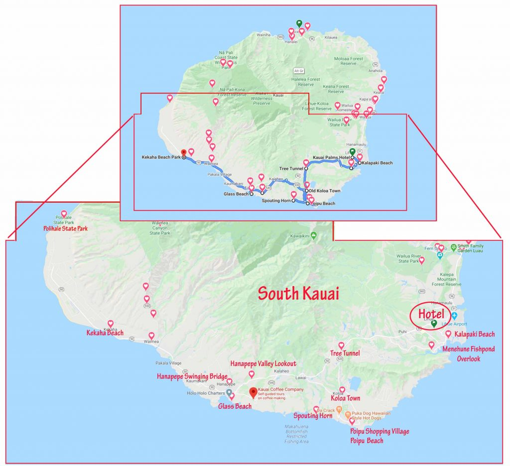 Attractions in southern Kauai