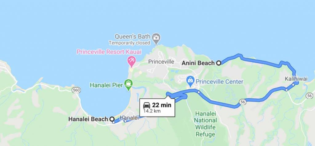 Driving route between Hanalei Beach and Anini Beach