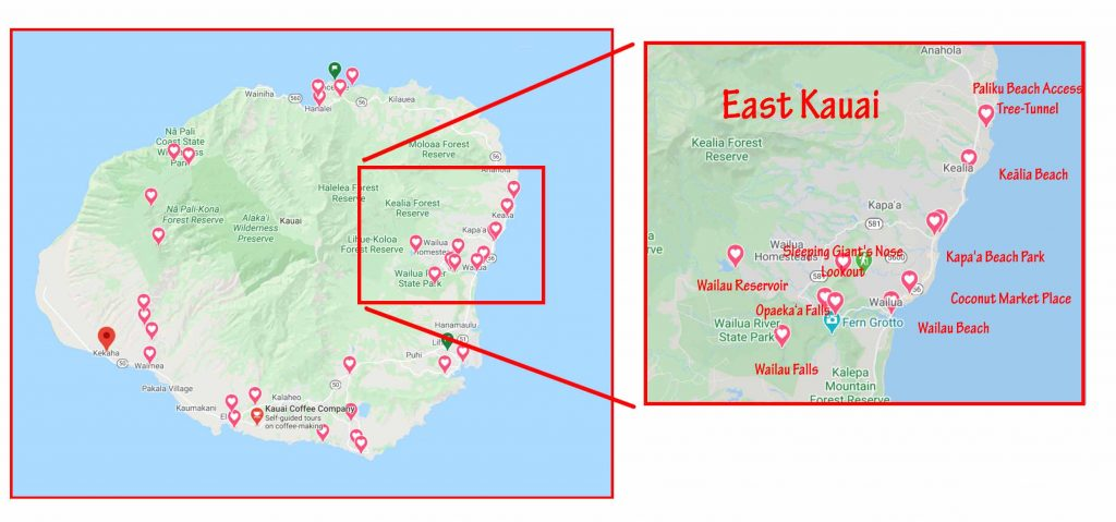 Attractions on the east side of Kauai