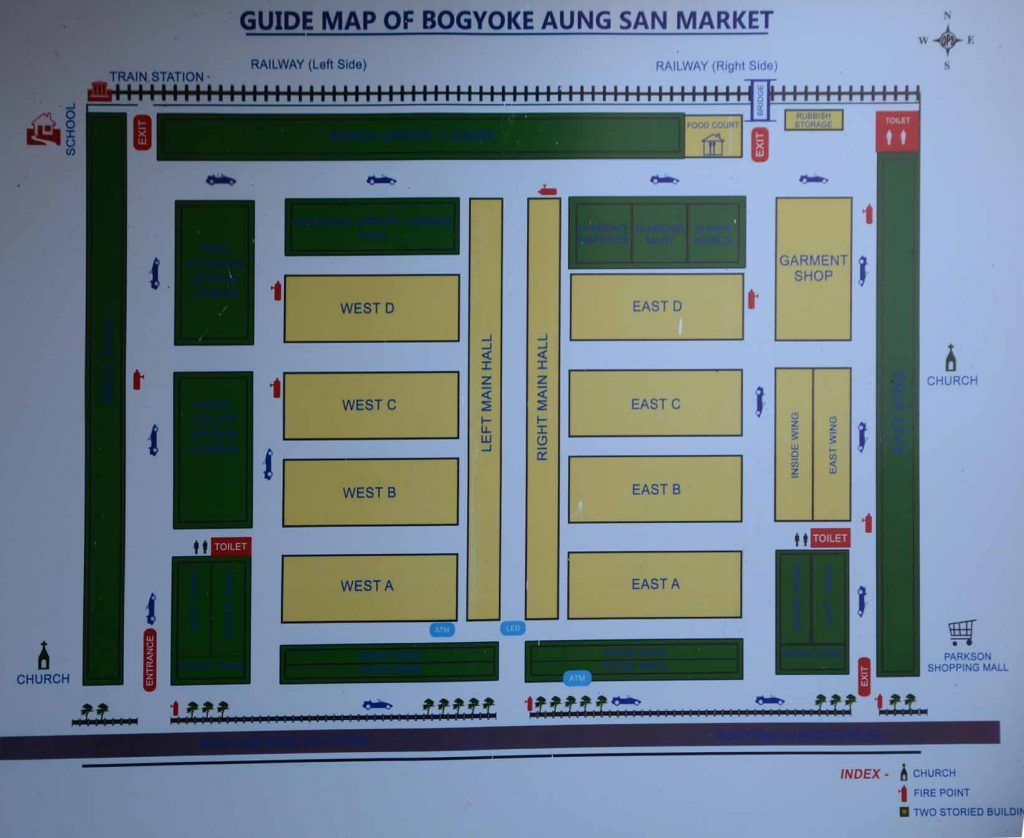 Map of Bogyoke Aung Sam Market