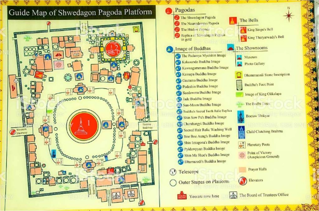 map and entrances of Shwedagon Pagoda