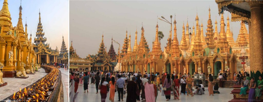 golden stupas at Shwedagon Pagoda
