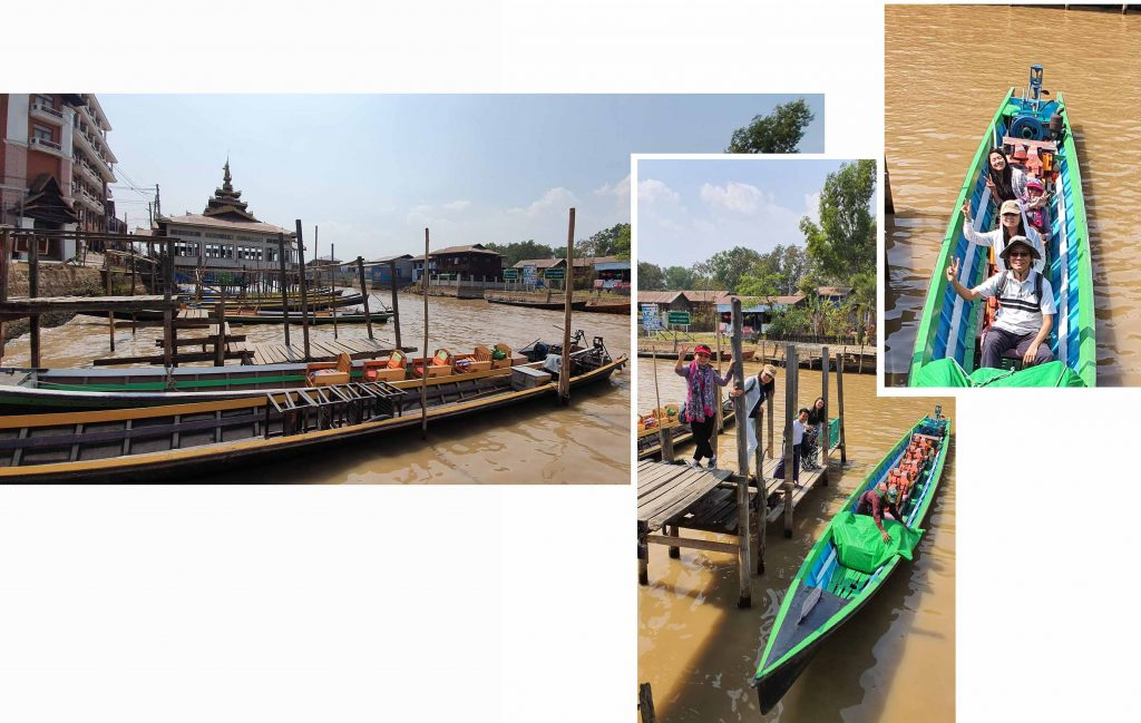 Getting into a long boat at Nyaungshwe Canal
