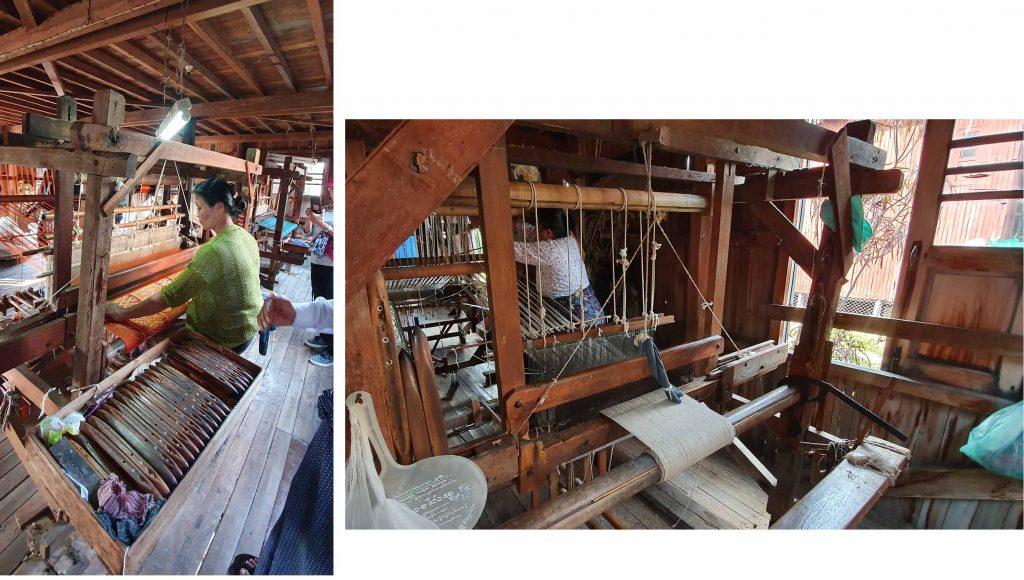 """Weaver working a """"hand loom"""" machine"""
