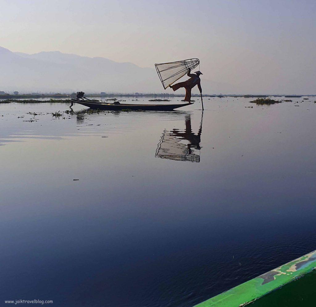 Fisherman at work on Inle Lake