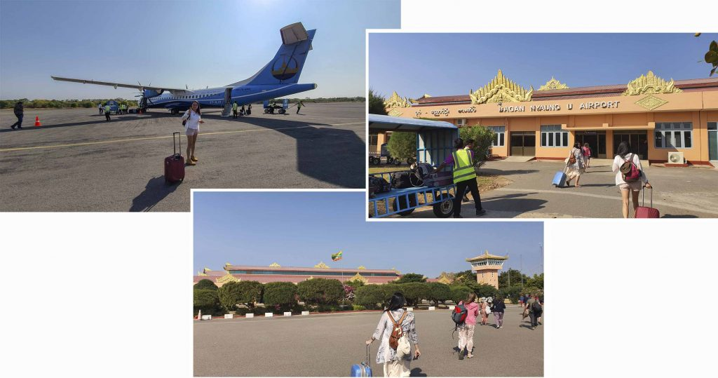 Touching down at Bagan Airport