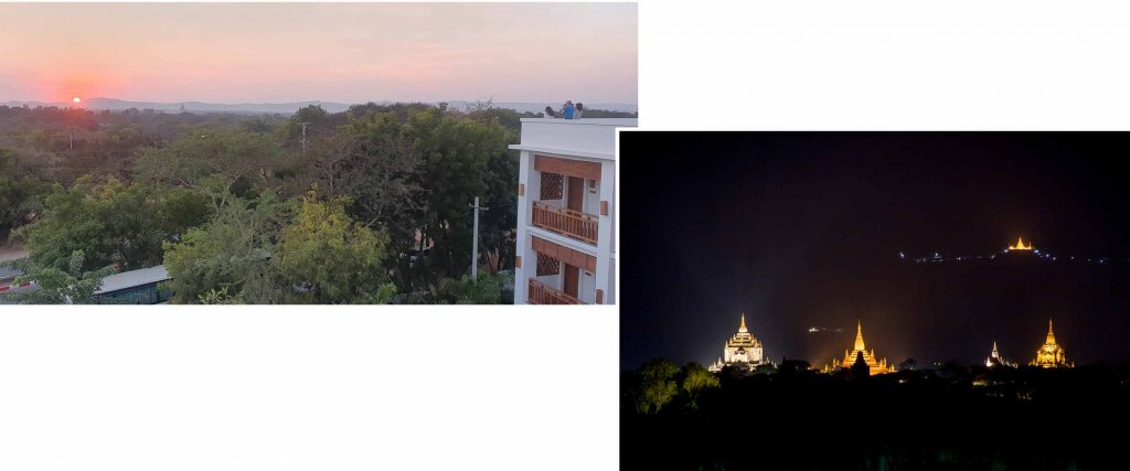 Rooftop view of Bagan plain at Golden View Hotel