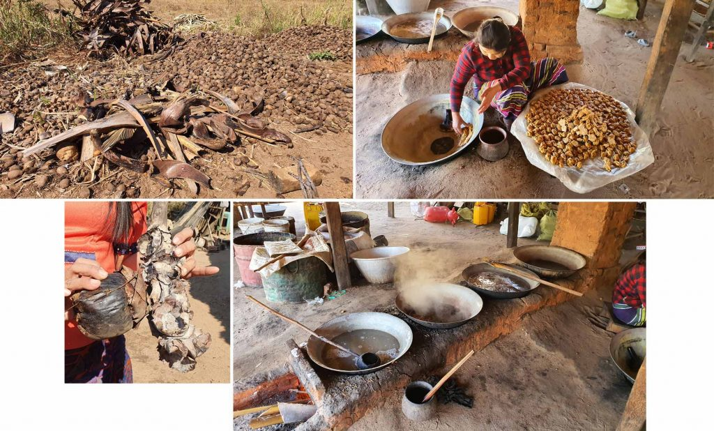 The making of palm sugar