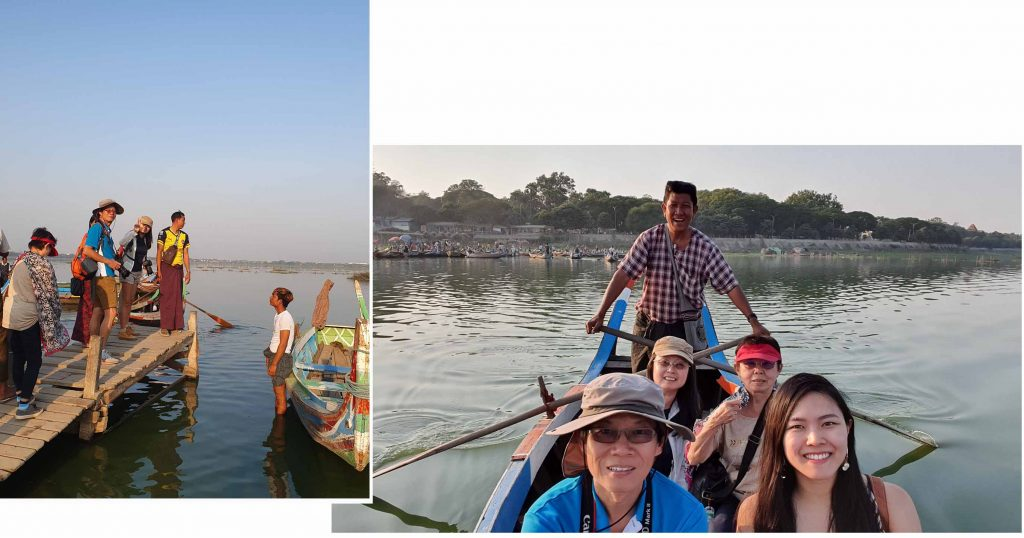 Our boat man rowing us to towards Ubein Bridge