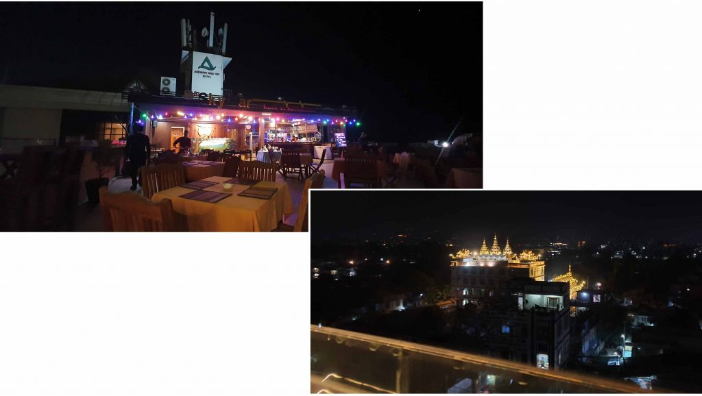 Roof top restaurant at Ayarwaddy River View Hotel
