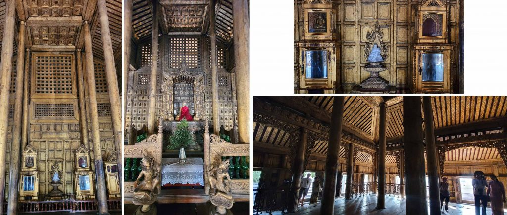 Golden interior of Shwenandaw Monastery